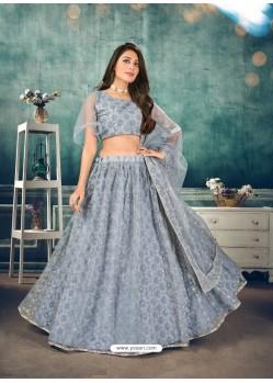 Grey Designer Bridal Wear Soft Net Lehenga Choli