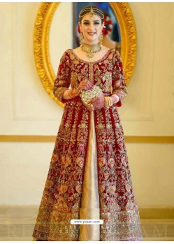 Red Latest Velvet Designer Wedding Anarkali Suit