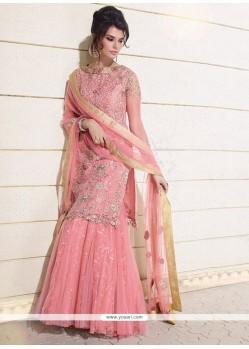 Snazzy Art Dupion Silk Pink A Line Lehenga Choli