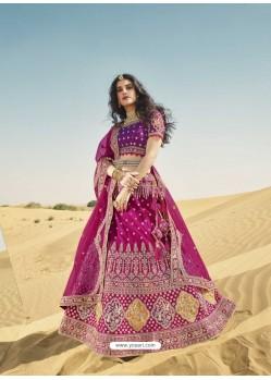 Medium Violet Heavy Embroidered Designer Bridal Lehenga Choli