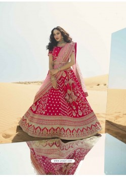 Rose Red Heavy Embroidered Designer Bridal Lehenga Choli
