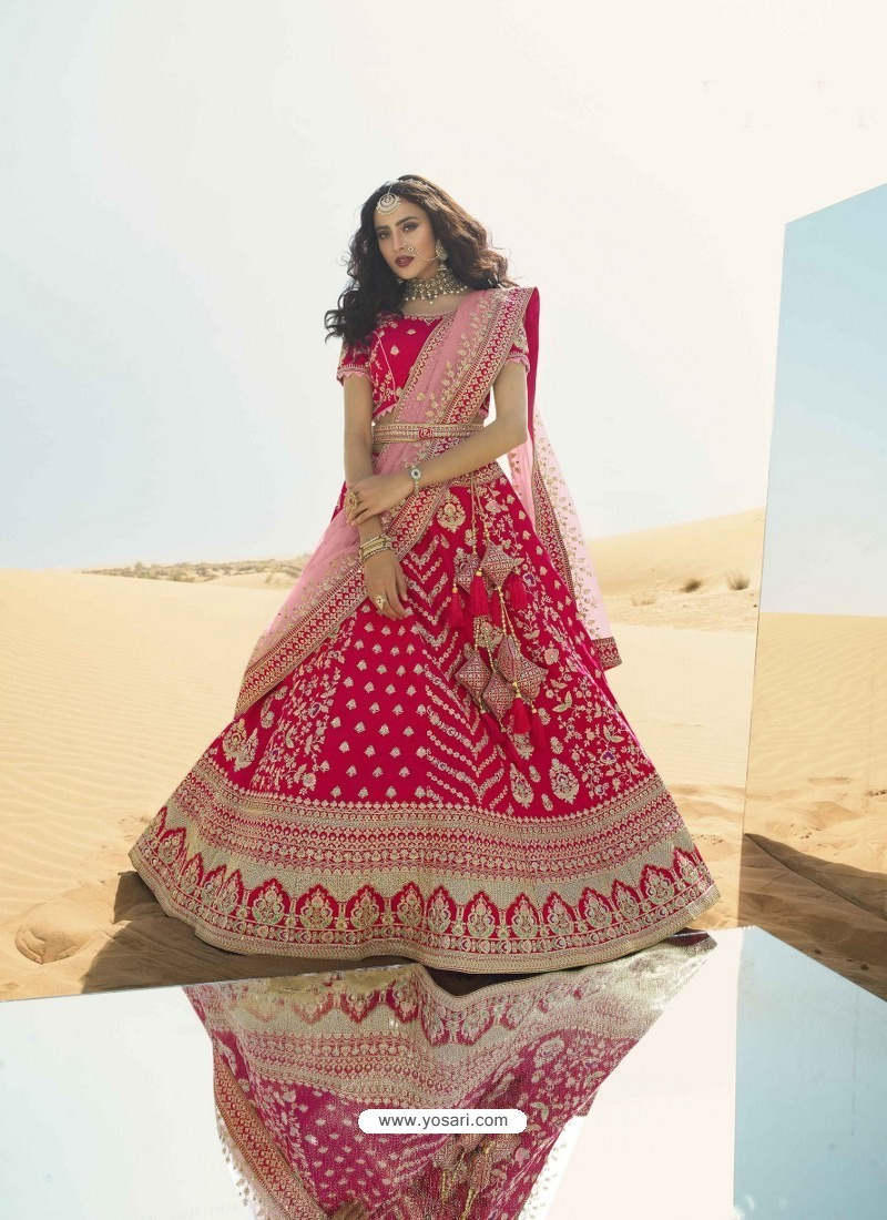 Rose Red Heavy Embroidered Designer Bridal Lehenga Choli