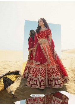 Orange Heavy Embroidered Designer Bridal Lehenga Choli