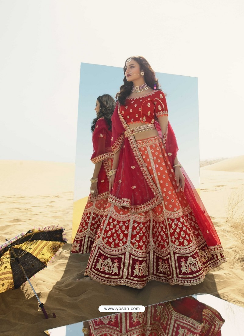 Orange Heavy Embroidered Designer Bridal Lehenga Choli