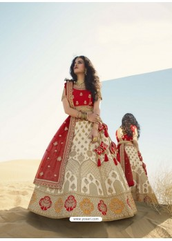 Off White Heavy Embroidered Designer Bridal Lehenga Choli