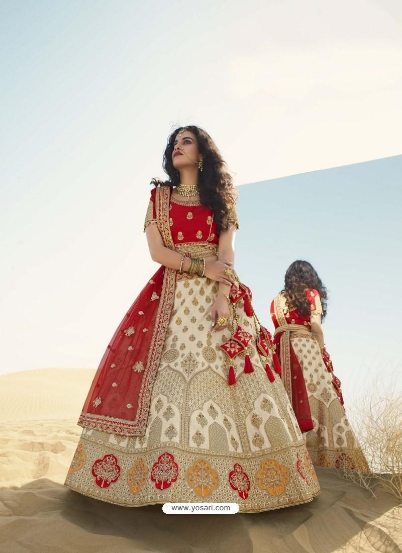 Off White Heavy Embroidered Designer Bridal Lehenga Choli