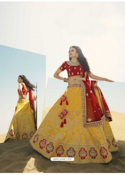 Yellow Heavy Embroidered Designer Bridal Lehenga Choli