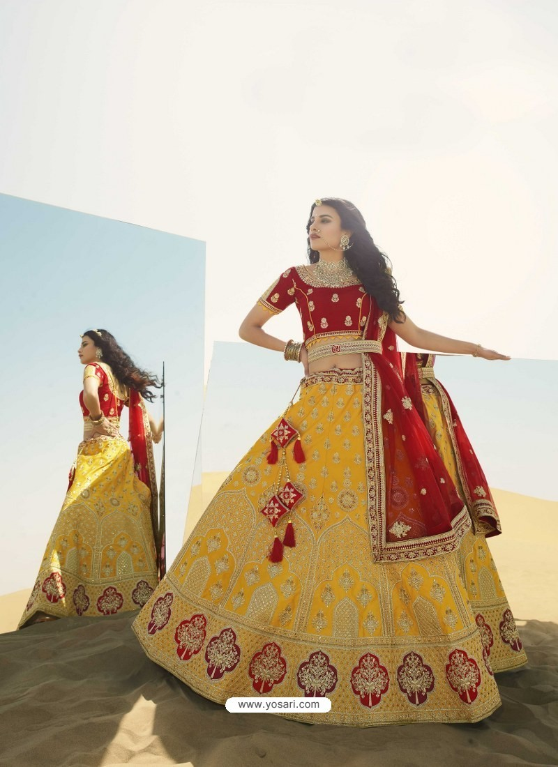 Yellow Heavy Embroidered Designer Bridal Lehenga Choli