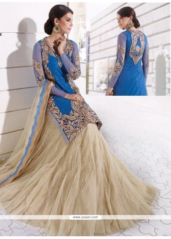 Voluptuous Embroidered Work Blue And Beige Georgette A Line Lehenga Choli