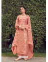 Peach Designer Party Wear Pure Silk Jacquard Salwar Suit
