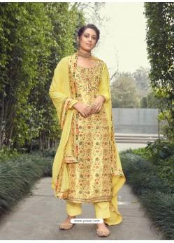 Lemon Designer Party Wear Pure Silk Jacquard Salwar Suit