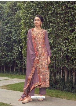Lavender Designer Party Wear Pure Silk Jacquard Salwar Suit