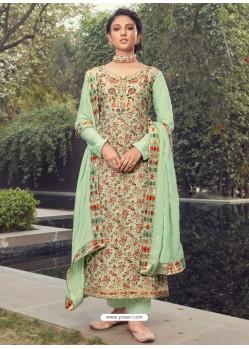 Sea Green Designer Party Wear Pure Silk Jacquard Salwar Suit
