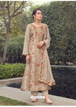 Light Beige Designer Party Wear Pure Silk Jacquard Salwar Suit