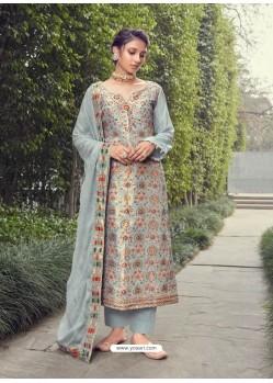 Grey Designer Party Wear Pure Silk Jacquard Salwar Suit