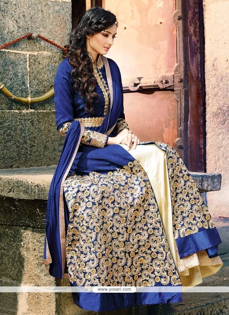 Sensible Crepe Silk Blue Zari Work Designer Lehenga Choli