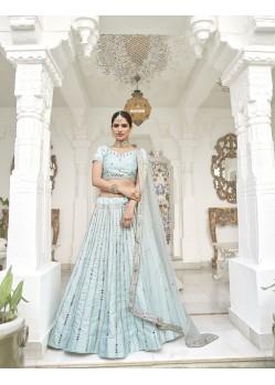 Sky Blue Latest Designer Wedding Wear Heavy Silk Lehenga Choli