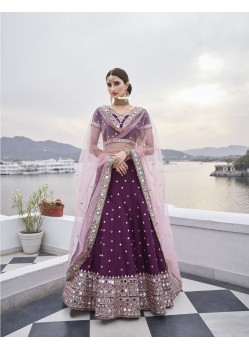 Purple Latest Designer Wedding Wear Heavy Silk Lehenga Choli