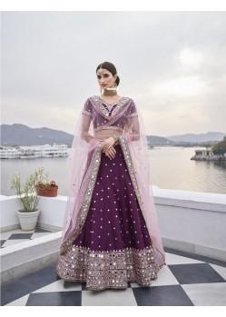 Purple Latest Designer Wedding Wear Heavy Silk Lehenga Choli