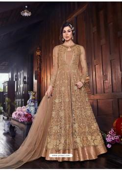 Beige Latest Heavy Designer Party Wear Anarkali Suit