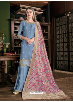 Blue Latest Designer Heavy Wedding Wear Suit
