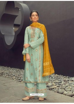 Sea Green Latest Heavy Designer Wedding Wear Suit