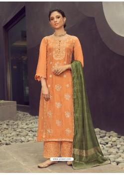 Orange Latest Heavy Designer Wedding Wear Suit