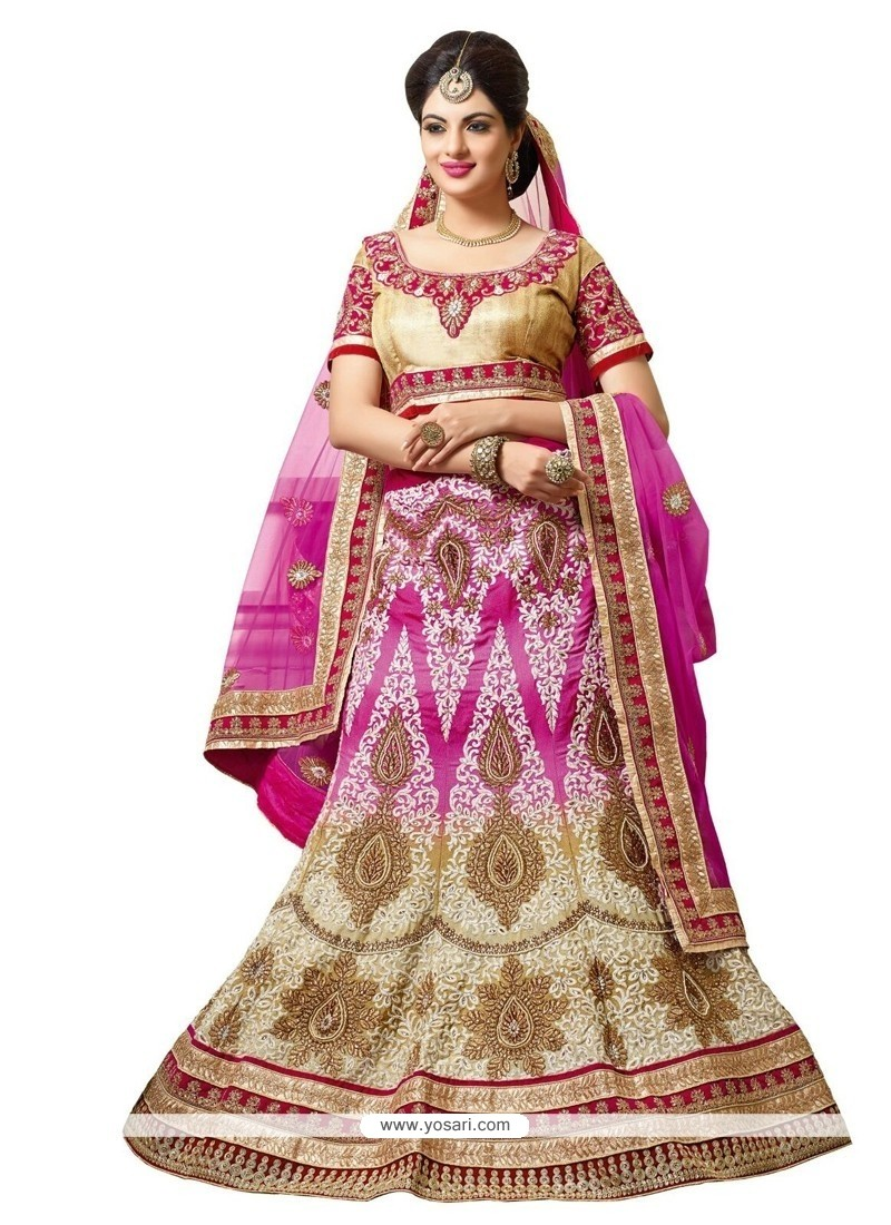 Catchy Beige And Pink Resham Work A Line Lehenga Choli