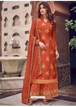 Orange Latest Heavy Designer Wedding Wear Palazzo Suit