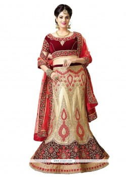 Ethnic Beige And Maroon Embroidered Work A Line Lehenga Choli