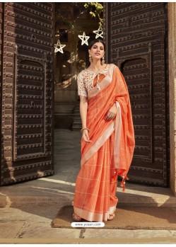 Orange Casual Wear Designer Cotton Linen Sari