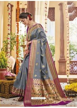 Grey Party Wear Wear Designer Soft Silk Sari