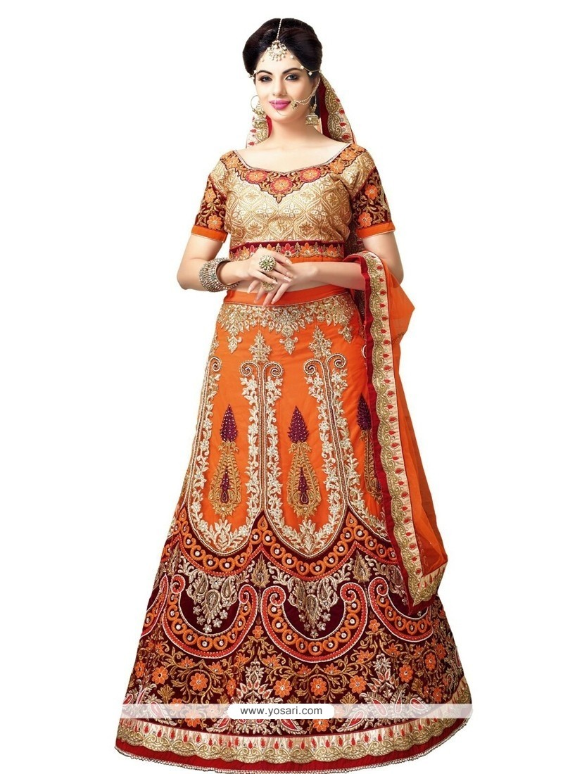 Delectable Net Orange A Line Lehenga Choli