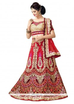 Staggering Red Resham Work A Line Lehenga Choli