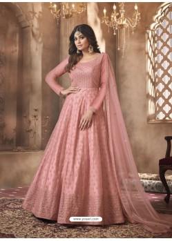 Pink Designer Butterfly Net Party Wear Anarkali Suit