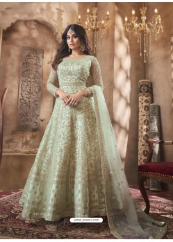 Sea Green Designer Butterfly Net Party Wear Anarkali Suit