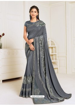 Grey Scintillating Latest Designer Wedding Wear Sari
