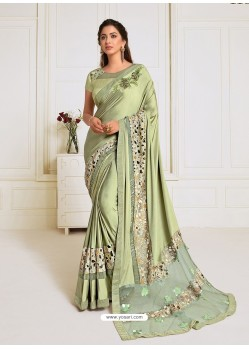 Green Scintillating Latest Designer Wedding Wear Sari