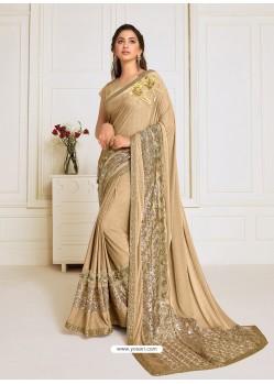 Gold Scintillating Latest Designer Wedding Wear Sari