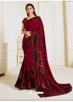 Maroon Scintillating Latest Designer Wedding Wear Sari