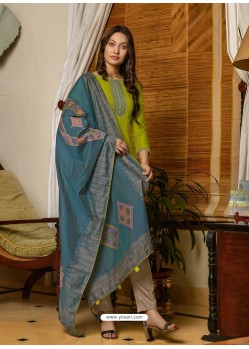 Parrot Green Latest Designer Party Wear Palazzo Suit