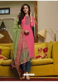 Hot Pink Latest Designer Party Wear Palazzo Suit