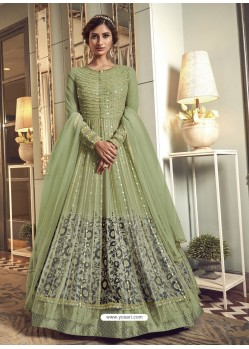 Green Latest Designer Heavy Embroidered Party Wear Anarkali Suit