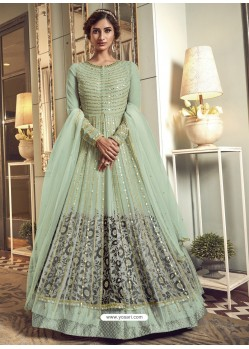 Sea Green Latest Designer Heavy Embroidered Party Wear Anarkali Suit