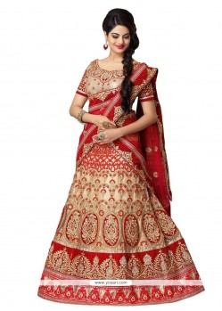Incredible Beige And Red Embroidered Work Net A Line Lehenga Choli