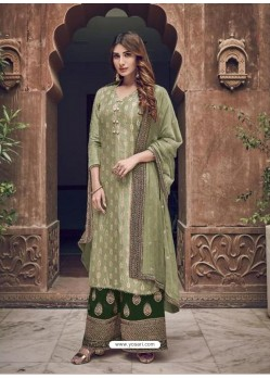 Green Heavy Designer Party Wear Faux Georgette Palazzo Suit