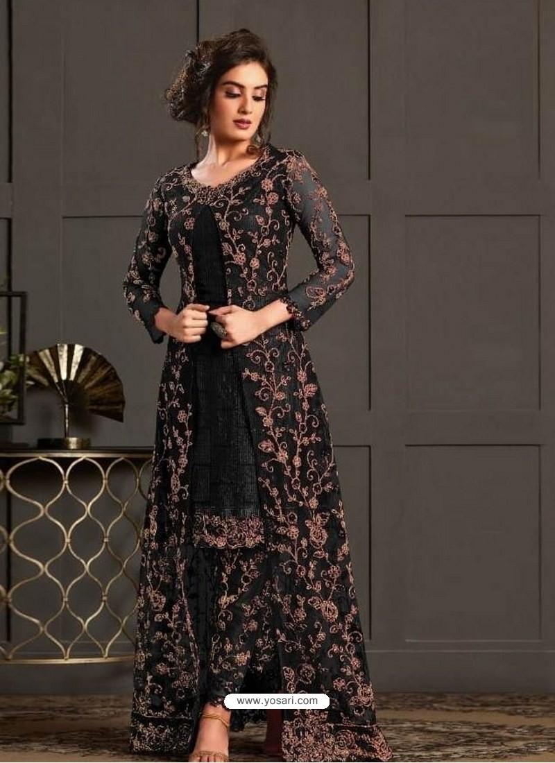 Black Designer Party Wear Super Net Pakistani Suit