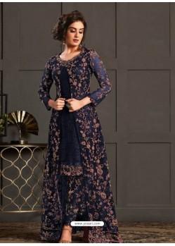 Navy Blue Designer Party Wear Super Net Pakistani Suit