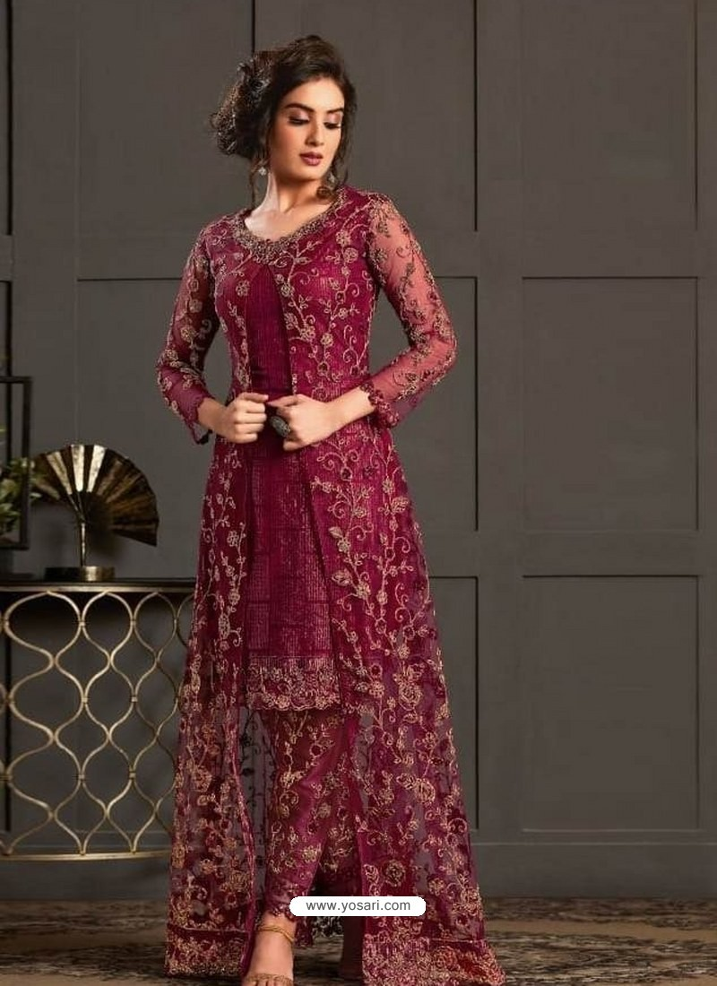 Maroon Designer Party Wear Super Net Pakistani Suit