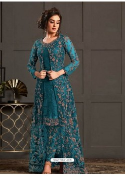 Blue Designer Party Wear Super Net Pakistani Suit